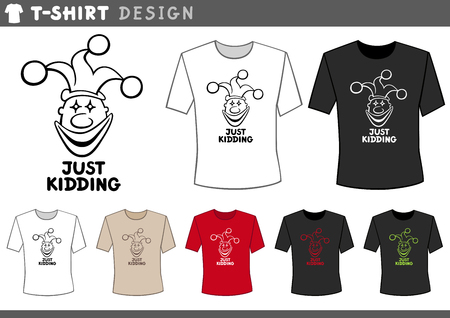 kidding: Illustration of T-Shirt Design Template with Clown or Joker and Text
