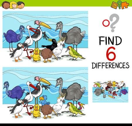 Cartoon Illustration of Finding Differences Educational Activity Game for Children with Birds Animal Characters