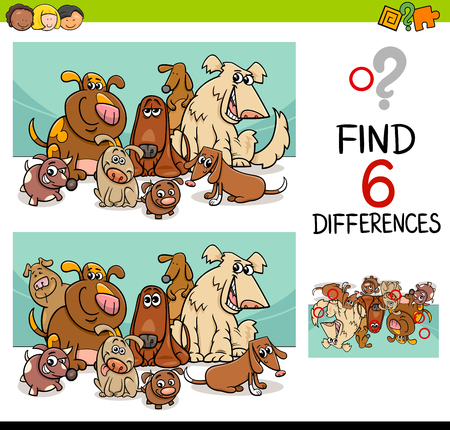riddles: Cartoon Illustration of Finding the Details Educational Activity for Children with Dogs Pet Animal Characters