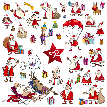 Cartoon Illustration of Christmas Characters and Design Elements Set