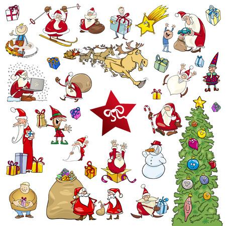 theme: Cartoon Illustration of Christmas Themes and Design Elements Set