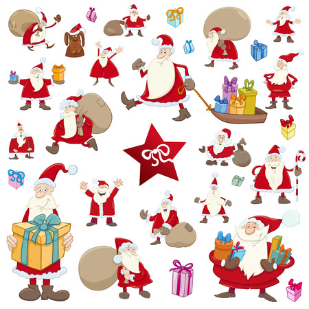 Cartoon Illustration of Christmas Characters and Objects Clip Arts Set