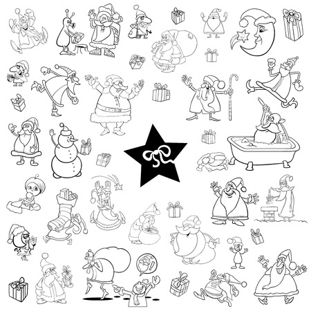 themes: Black and White Cartoon Illustration of Christmas Themes and Characters Clip Arts Set Illustration