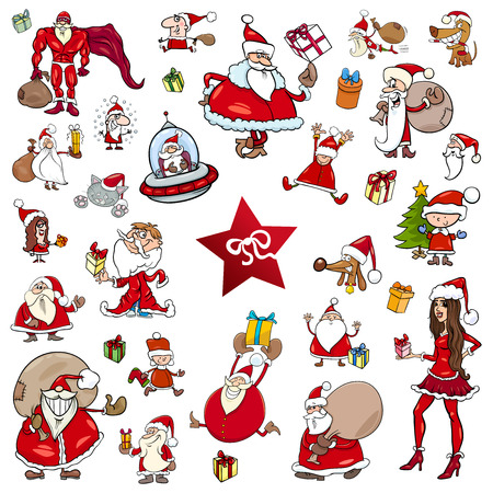 Cartoon Illustration of Christmas Characters and Design Elements Clip Arts Set