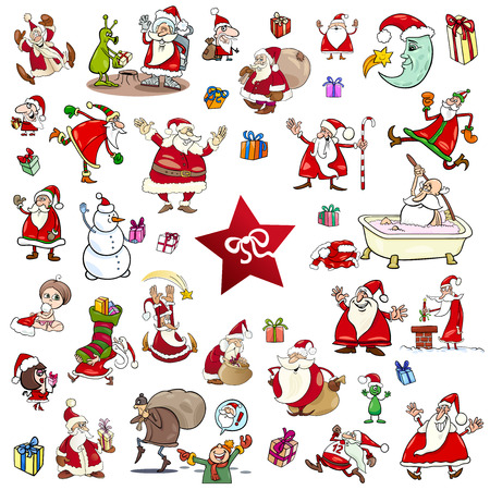 themes: Cartoon Illustration of Christmas Themes and Characters Clip Arts Set Illustration