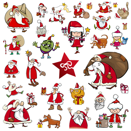 Cartoon Illustration of Christmas Characters and Themes Clip Arts Set