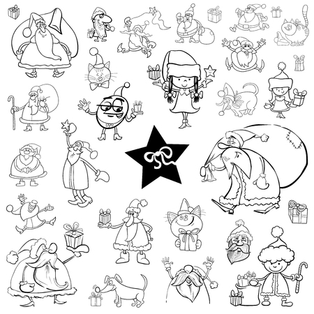 christmas characters: Black and White Cartoon Illustration of Christmas Characters and Themes Clip Arts Set