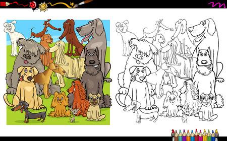 purebred: Cartoon Illustration of Purebred Dog Characters Coloring Book Activity Illustration