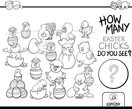 poult: Black and White Cartoon Illustration of Educational Counting Task for Preschool Children with Easter Chicks Characters Coloring Page