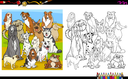 purebred: Cartoon Illustration of Purebred Dogs Group Coloring Book Activity