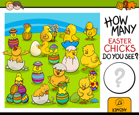poult: Cartoon Illustration of Educational Counting Task for Preschool Children with Easter Chicks Characters