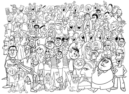 black people: Black and White Cartoon Illustration of People Group in the Crowd