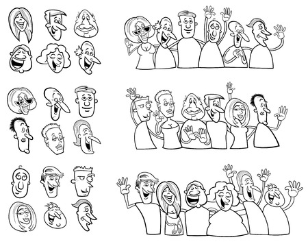 black people: Black and White Cartoon Illustration of Happy People Large Collection Illustration
