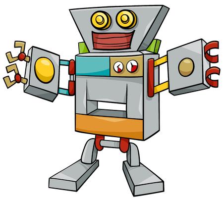 Cartoon Illustration of Robot or Droid Fantasy Character Illustration