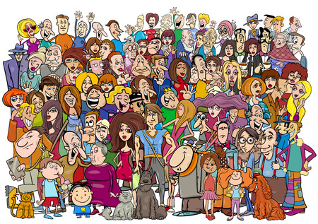 Cartoon Illustration of Large People Group in the Crowd