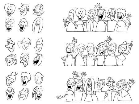 white people: Black and White Cartoon Illustration of Happy People Large Set