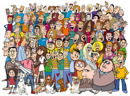 Cartoon Illustration of People Group in the Crowd 일러스트