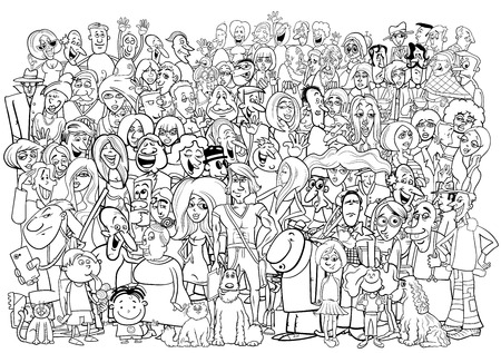 black people: Black and White Cartoon Illustration of Large People Group in the Crowd