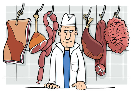 Cartoon Illustration of Butcher in his Shop with Meat Food Objects