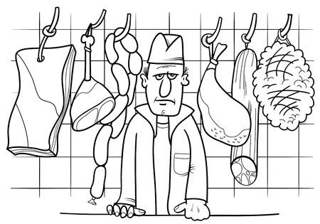 Zwart-wit Cartoon Illustratie van Butcher in zijn winkel met vlees voedsel voorwerpen kleurplaat