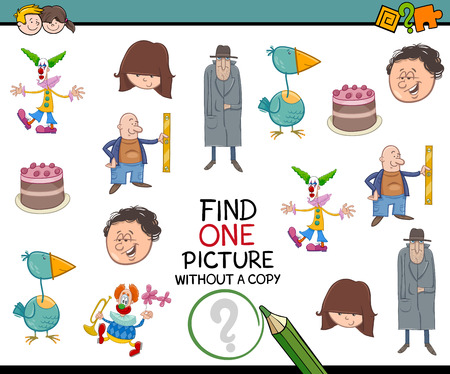 one child: Cartoon Illustration of Educational Activity of Finding Picture without Copy for Children Illustration