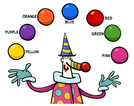 Cartoon Illustration of Primary Colors Educational Activity for Children with Clown Character
