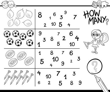 enumerate: Black and White Cartoon Illustration of Educational Counting Activity Task for Preschool Children with Objects Coloring Page Illustration