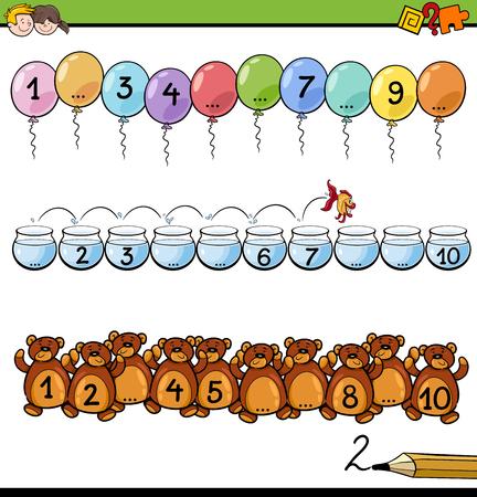 numero diez: Ilustración de dibujos animados de la Educación Matemática Actividad para Niños con contar hasta diez Tarea