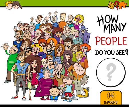 Cartoon Illustration of Educational Counting Task for Children with People Characters Crowd
