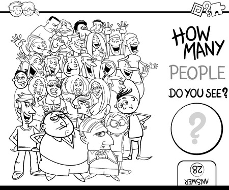 numbering: Black and White Cartoon Illustration of Educational Counting Task for Children with People Characters Crowd Coloring Book