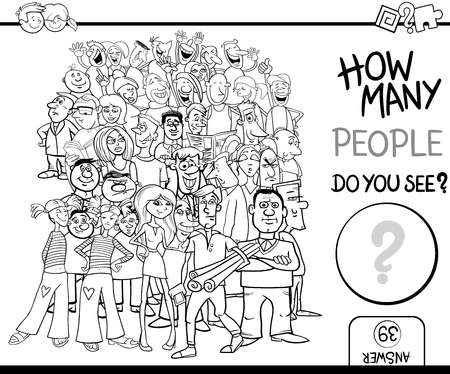 many: Black and White Cartoon Illustration of Educational Counting Task for Children with People Characters Crowd Coloring Book