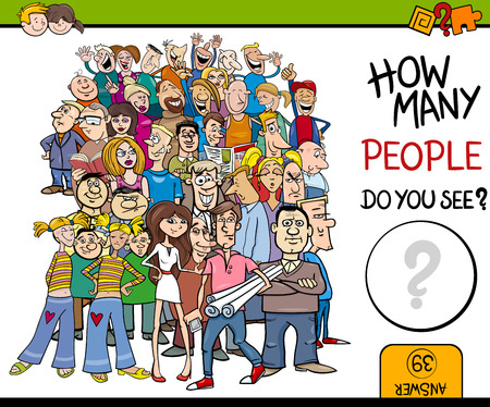 guess: Cartoon Illustration of Educational Counting Activity for Children with People Characters Big Crowd
