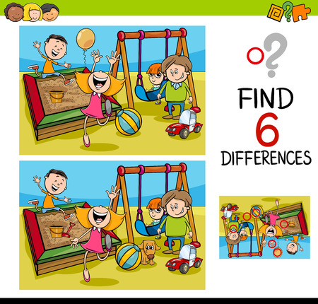 Cartoon Illustration of Finding the Difference Educational Activity for Children with Kids on Playground Vettoriali