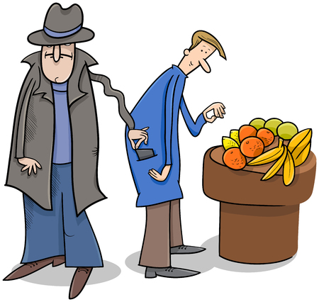 Cartoon Illustration of Pickpocket Thief Stealing a Wallet