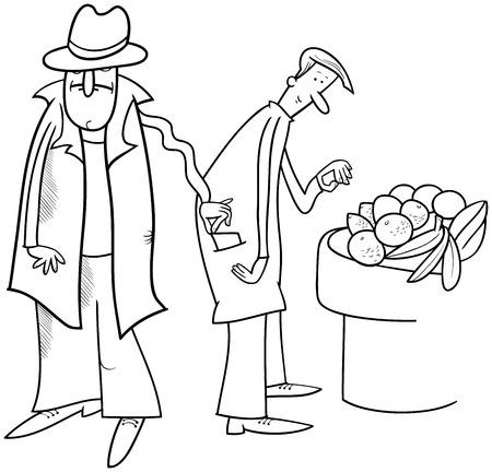 Black and White Cartoon Illustration of Pickpocket Thief Stealing a Wallet Illustration
