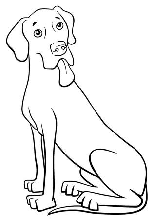 great dane: Black and White Cartoon Illustration of Great Dane Dog