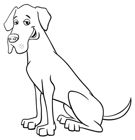 Black and White Cartoon Illustration of Great Dane Purebred Dog
