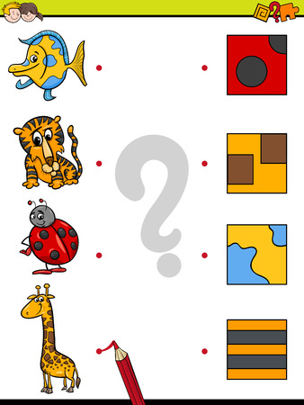 Cartoon Illustration of Education Element Matching Game for Children with Animals