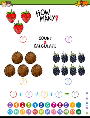 addition: Cartoon Illustration of Educational Mathematical Counting and Addition Activity for Children Illustration