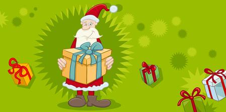 cartoon present: Greeting Card Cartoon Illustration of Santa Claus with Present