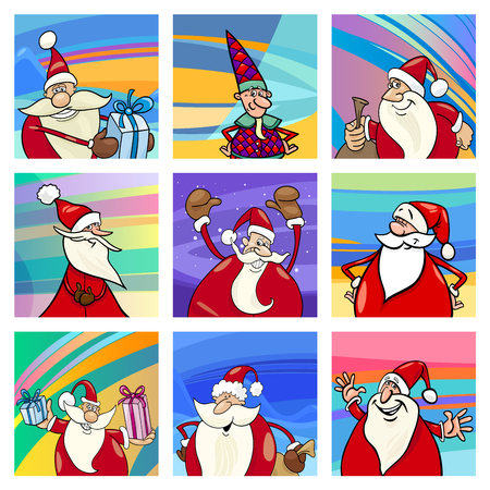 Cartoon Illustration of Christmas Pattern with Santa Claus Characters Set