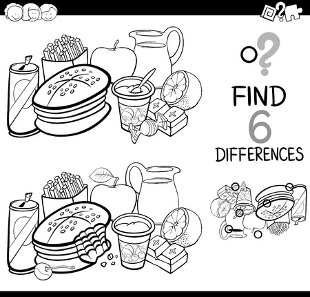 Black and White Cartoon Illustration of Finding the Difference Educational Activity for Children with Food Objects Coloring Page