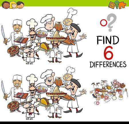 Illustration de dessin animé de la découverte d'une activité éducative différente pour les enfants avec des personnages de cuisine Banque d'images - 66556201