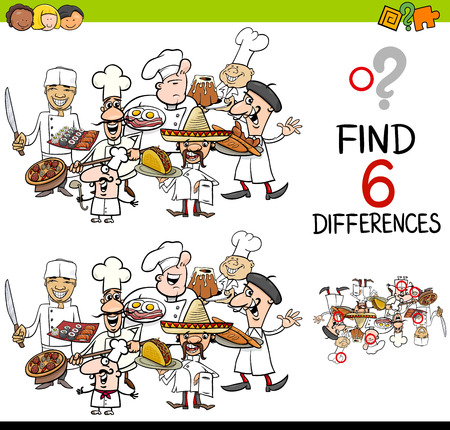 Cartoon Illustration of Finding the Difference Educational Activity for Children with Cook Characters Vettoriali