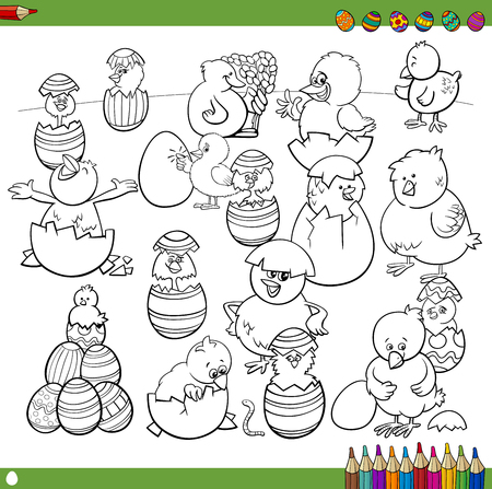 Black And White Cartoon Illustration Of Happy Easter Chick Characters With Eggs Coloring Book