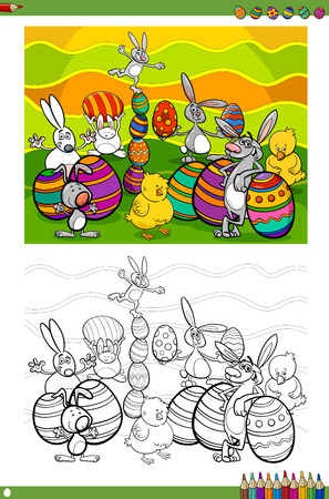 Cartoon Illustrations of Easter Bunnies and Chickens with Eggs Coloring Book