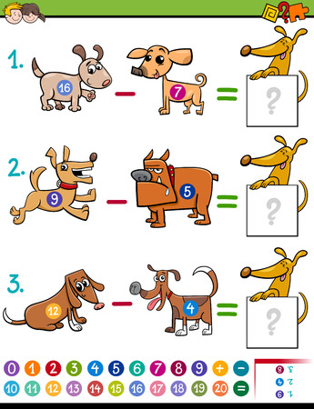 dog sled: Cartoon Illustration of Educational Mathematical Subtraction Activity Task for Children with Dog Characters Illustration