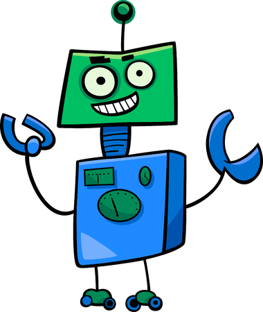 droid: Cartoon Illustration of Funny Robot or Droid Character Illustration
