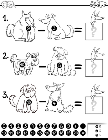 white dog: Black and White Cartoon Illustration of Educational Mathematical Subtraction Game for Children with Dog Characters Coloring Book