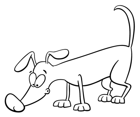 sniffing: Black and White Cartoon Illustration of Sniffing Dog Animal Character Coloring Book